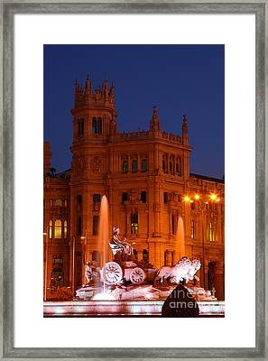 Cybele Fountain At Blue Hour Madrid Framed Print