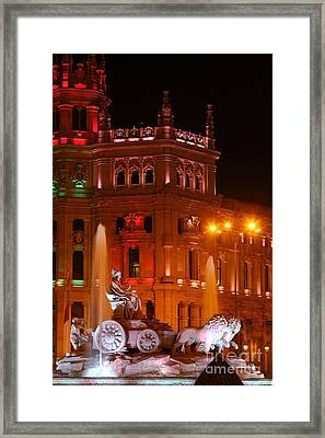 Cybele Fountain At Night Madrid Framed Print
