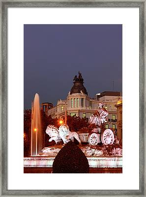 Cybele Fountain Twilight Madrid Framed Print