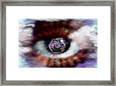 Framed Print featuring the digital art Cyber Oculus Cumulus by Iowan Stone-Flowers