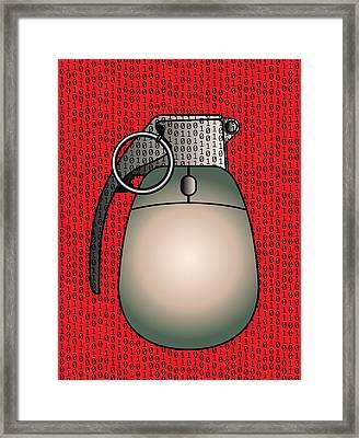 Cyber Warfare, Conceptual Artwork Framed Print by Stephen Wood