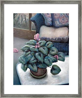 Cyclamen And Wicker Framed Print