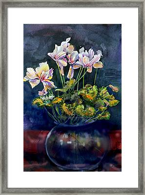 Framed Print featuring the painting Cyclamen In A Vase by Gertrude Palmer