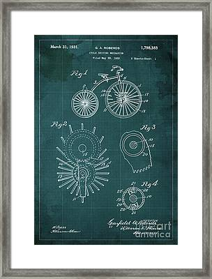 Cycle Driving Mechanism Patent Blueprint Year 1930 Green Background Framed Print by Pablo Franchi