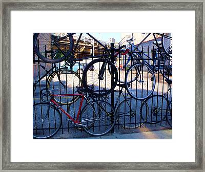 Cycle Fence Framed Print by Anna Villarreal Garbis