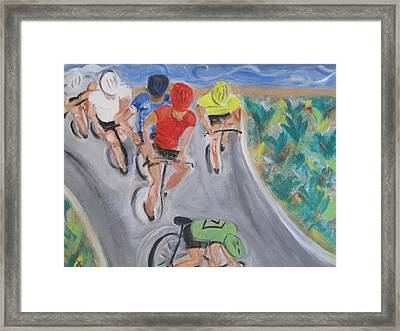 Cycling By The Ocean Framed Print