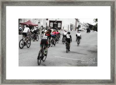 Cycling Red  Framed Print by Steven Digman