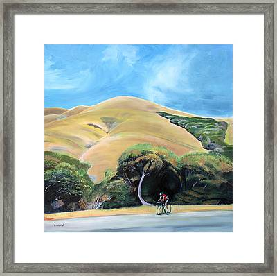 Cyclist By Elephant Mountain Framed Print by Colleen Proppe