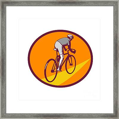 Cyclist Riding Bicycle Cycling Oval Woodcut Framed Print