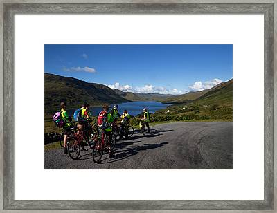 Cyclists Above Lough Nafooey, Shot Framed Print by Panoramic Images