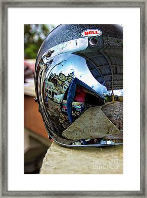 Framed Print featuring the photograph Cyclist's View Of Biblian Church by Al Bourassa