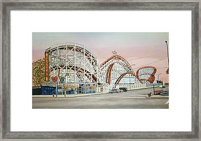 Cyclone Rollercoaster In Coney Island New York Framed Print by Bonnie Siracusa