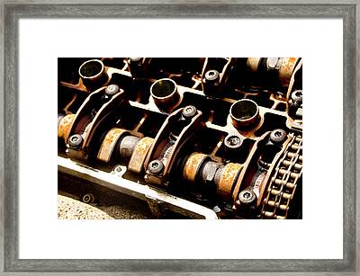 Cylinders And Camshafts. Framed Print by Elena Perelman
