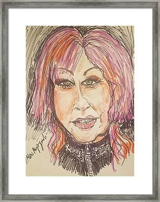 Cyndi Lauper Framed Print by Geraldine Myszenski