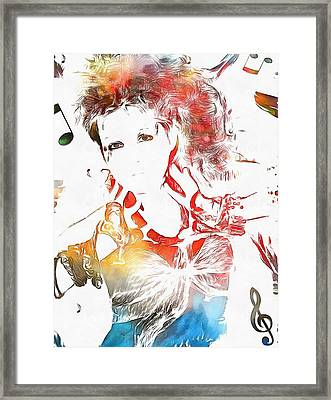 Cyndi Lauper Watercolor Framed Print by Dan Sproul