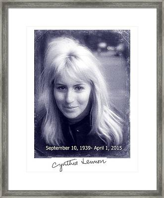 Cynthia Lennon Framed Print by Allen Beilschmidt