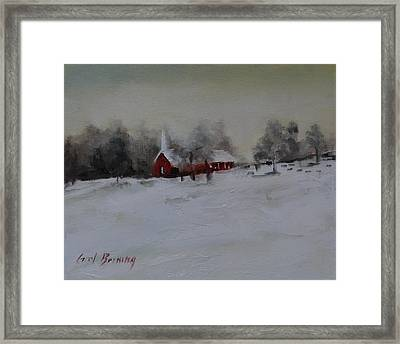 Cypress In The Snow Framed Print