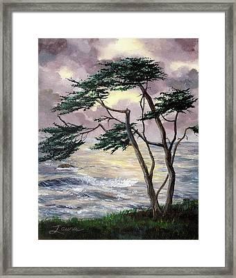 Cypress Tree Just Before The Rain Framed Print