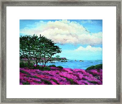 Cypress Trees By Lovers Point Framed Print