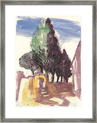 Framed Print featuring the painting Cypresses Bonnieux by Martin Stankewitz