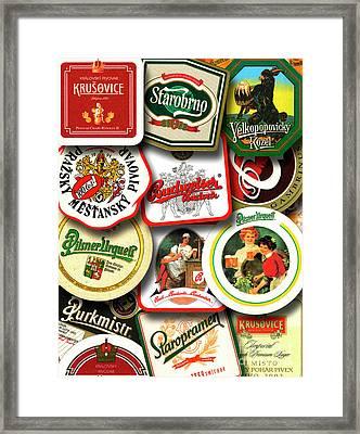 Czech Beer Mats 1 Framed Print by Phil Robinson