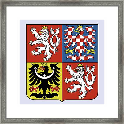 Framed Print featuring the drawing Czech Republic Coat Of Arms by Movie Poster Prints