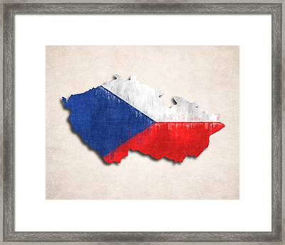 Czechia Map Art With Flag Design Framed Print by World Art Prints And Designs
