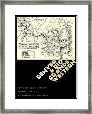 D And R.g.w. Rail Map Of Colorado And Utah Framed Print