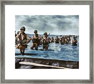 D Day Landings, Wwii Framed Print by Mary Bassett