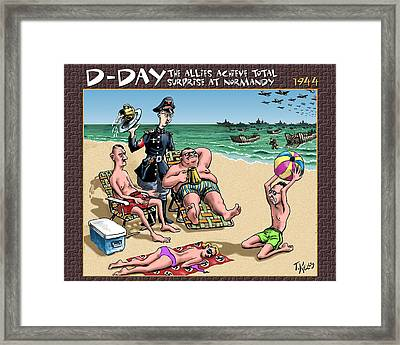 D-day - The Allies Achieve Total Surprise At Normandy Framed Print