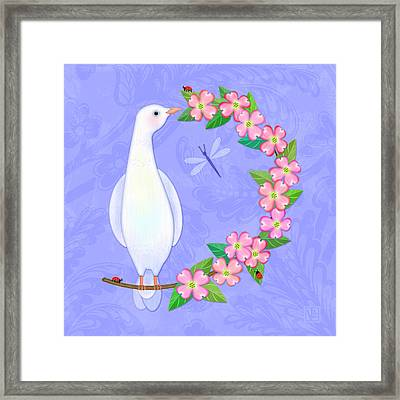 D Is For Dove And Dogwood Framed Print