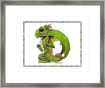 Framed Print featuring the digital art D Is For Dragon by Stanley Morrison