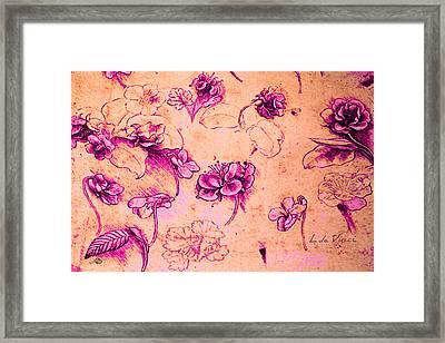 Da Vinci Flower Study Pink And Orange By Da Vinci Framed Print