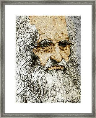 Da Vinci Self Portrait Remastered With Added Color By Da Vinci Framed Print by Tony Rubino