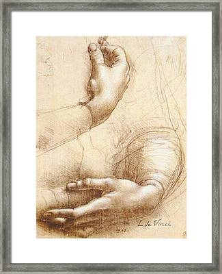 Da Vinci Study Of Hands Framed Print by Tony Rubino