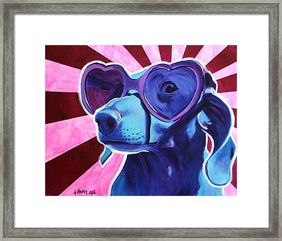 Dachshund - Puppy Love Framed Print by Alicia VanNoy Call