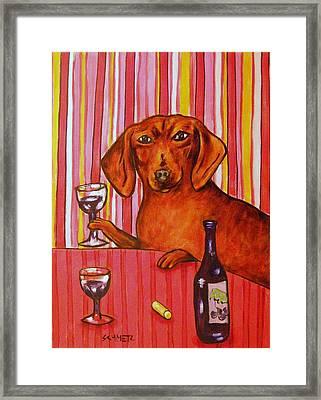 Dachshund At The Wine Bar Framed Print by Jay  Schmetz