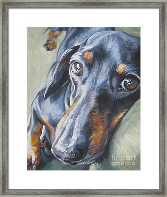 Dachshund Black And Tan Framed Print by Lee Ann Shepard