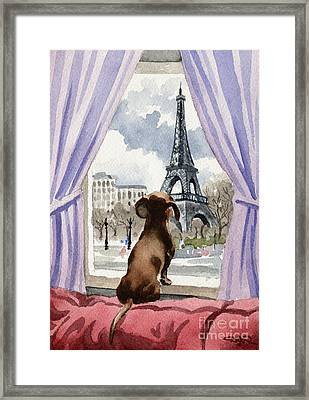Dachshund In Paris Framed Print