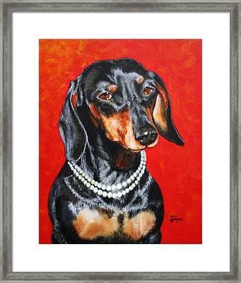 Dachshund In Pearls Framed Print