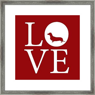 Dachshund Love Red Framed Print by Nancy Ingersoll