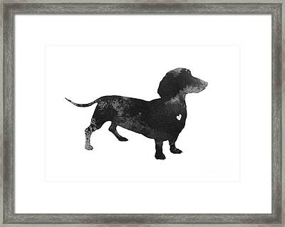 Dachshund Watercolor Black Silhouette Framed Print by Joanna Szmerdt