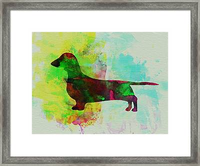 Dachshund Watercolor Framed Print by Naxart Studio