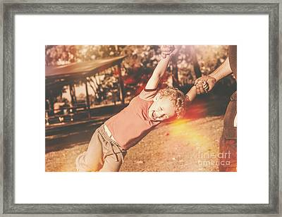 Dad Spinning Laughing Boy Propeller Style Framed Print by Jorgo Photography - Wall Art Gallery