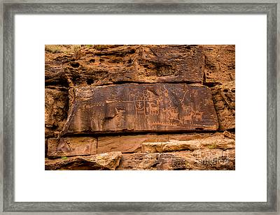 Daddy Canyon Petroglyph - Nine Mile Canyon - Utah Framed Print by Gary Whitton