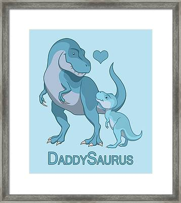 Daddy Tyrannosaurus Rex Baby Boy Framed Print