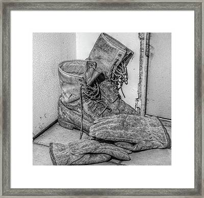 Dads Boots Framed Print by Randy Steele