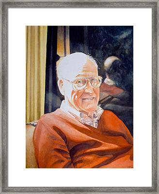 Dad's Red Sweater Framed Print