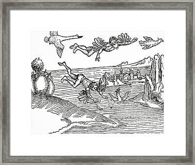 Daedalus And Icarus Framed Print by German School