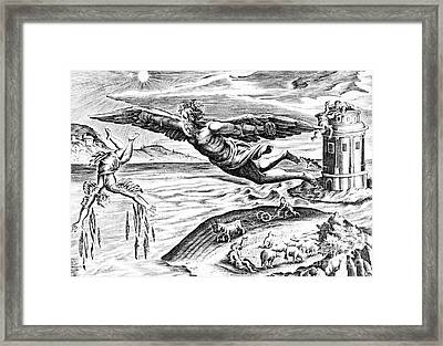Daedalus Escaping From Crete With His Son, Icarus, Sees Him Falling To His Death Framed Print